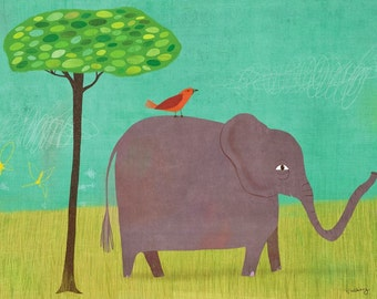 Elephant and Red Bird // Canvas Art Print // Nursery Decor