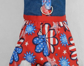 Last One-Size XSmall - Custom July 4th Patriotic Daisy USA Flag Harness Dress. Perfect for your Cat, Dog or Ferret.