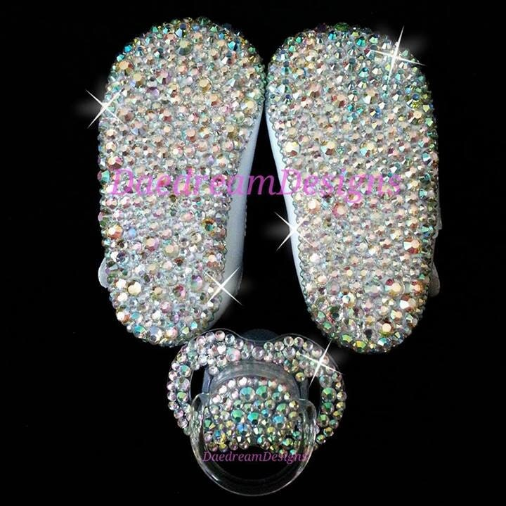 Bling Baby Shoes And Pacifier