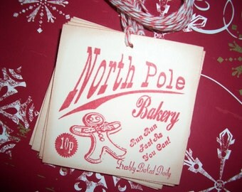 Christmas Tags - North Pole Bakery Tags - Gingerbread Man Cookies - Set of Six - Hand Made Lovely