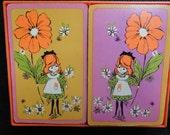 Bridge card game, Vintage Hallmark bridge cards, vintage deck of cards, retro playing cards, flower girl cards