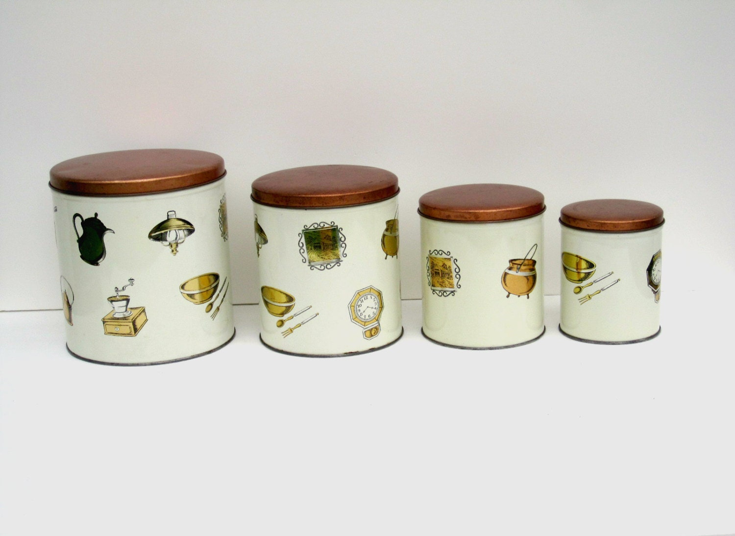 Retro kitchen canister set copper and ivory cream set of 4 for Cream kitchen set