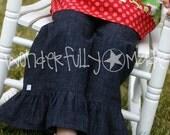 Girls Denim Ruffle Pants Sizes 6, 7 or 8