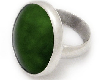 New Zealand Greenstone and Sterling Silver Ring - Large
