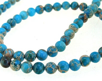 "Blue Emperor stone Jade 6mm Gemstone beads Loose One strand  15.5"" Full One Strand"