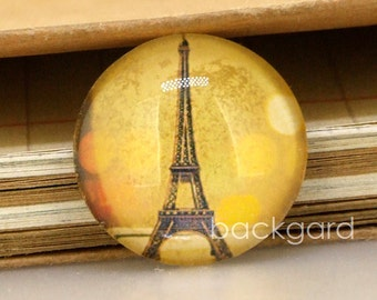 Circle Yellow Light Eiffel Tower Photo Glass Image Cabochon Magnets Paperweight crystal Dome  10mm 12mm 14mm 16mm 18mm 20mm 22mm 25mm 30mm
