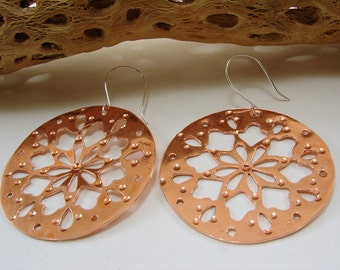 Copper and Sterling Silver Large Disk Earrings