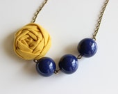 Mustard and Navy mini fabric flower necklace, beaded necklace, statement necklace