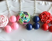 Girl's necklace, pick your own colors necklace, mix and match necklace, fabric flower necklace,