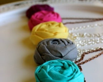 Teachers gift, Graduation gift, Single Bloom fabric flower necklace Pick Your Color