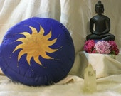 Handpainted Spining Golden Sun on Blue cotton. Amitabhaya Meditation Cushion Zafu.