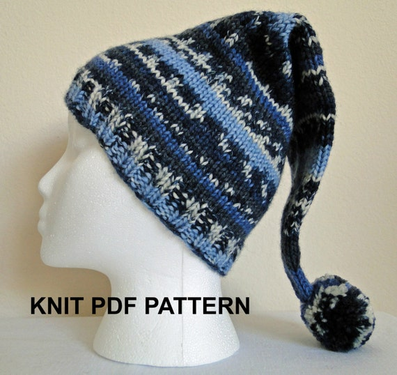 PDF PATTERN Knit Adult Stocking Hat Ski Hat by karensstitchnitch