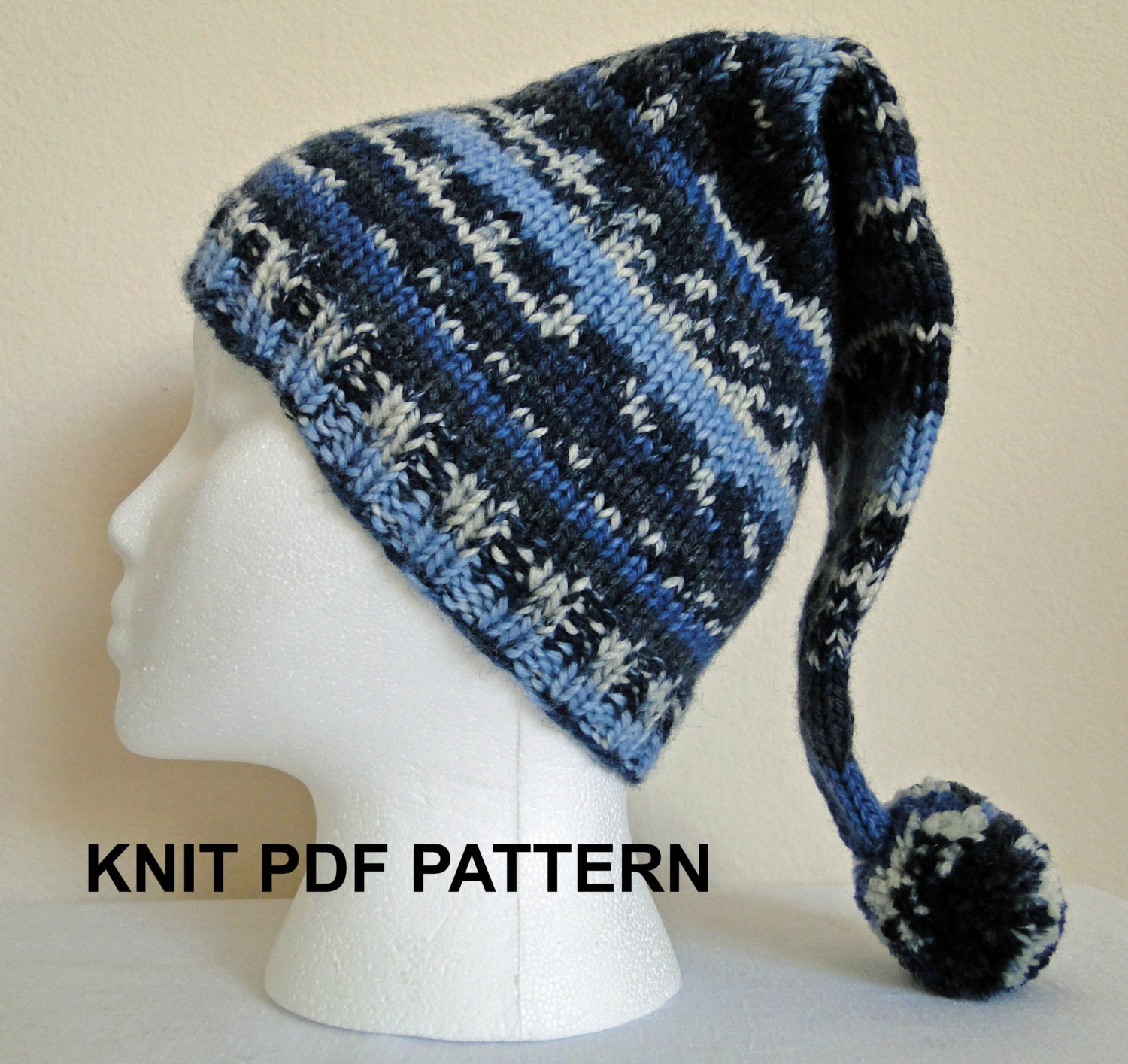 PDF PATTERN Knit Adult Stocking Hat Ski Hat by ...