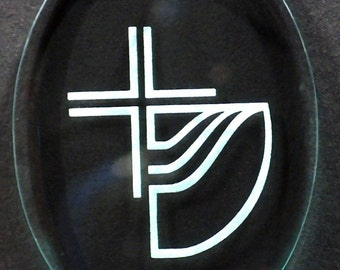 Carved Glass Brethren Church Cross Ornament
