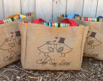 8 Eco Friendly Custom Wedding Tote Bags - Handmade from Recycled Coffee Sacks