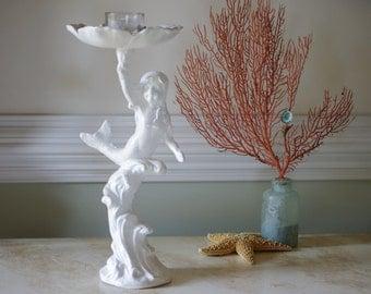 Beach Decor Cast Iron Girl Mermaid Candle Holder - Bird Bath - Bird Feeder - PICK YOUR COLOR(S)