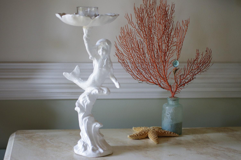 Beach Decor Cast Iron Girl Mermaid Candle Holder Bird Bath