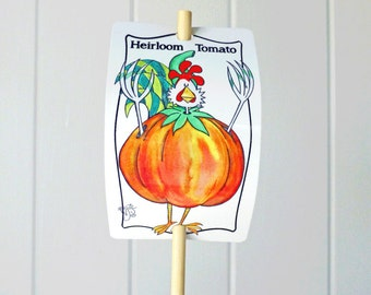 Vegetable Marker Heirloom Tomato for Gardens Humor Decor Aluminum UV Safe