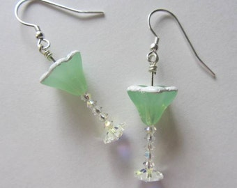 Margarita Glass Earrings with Salted Rim, Artisan, Reduced, Free US Shipping