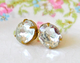 Vintage Oval Rhinestone Post Earrings-  Jewel Clear Gold Brass Faceted Rhinestone Post Earrings - Wedding, Bridesmaids, Bridal,