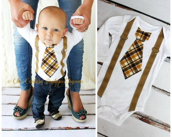 Father's Day Baby Boy Tie and Suspenders Bodysuit. 1st Birthday Outfit, Cake Smash Outfit, Citrine Plaid Brown Gift, Summer Wedding