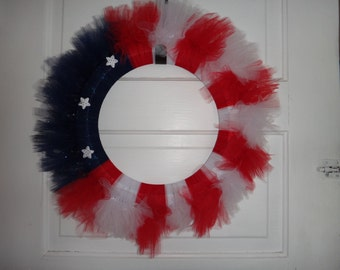 Patriotic Flag Wreath with Stars
