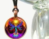 "Unique Chakra Jewelry, Angel Reiki Energy Art Pendant Necklace ""Phoenix Rising"""