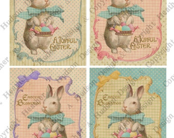 Victorian Vintage Easter Shabby Pink Bunny Eggs Card Fronts Digital Collage sheet Printable