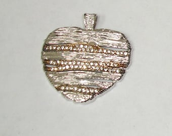 Vintage Sterling 925 Silver & CZ Accented Modernist Large Heart Necklace Pendant-VALENTINE Gift