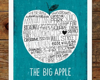11x14 The Big Apple, New York City, Hand Lettering Art Print