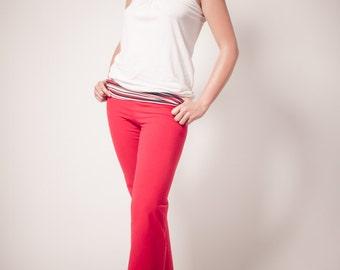 Yoga Fold Down Waistband: Karma Pant.Red. Medium
