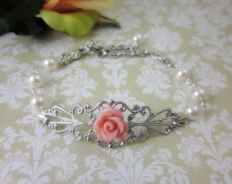 Salmon Pink Rose Bracelet. Silver Tone. Gift for her. Bridal Jewelry. Bridesmaid Gifts.