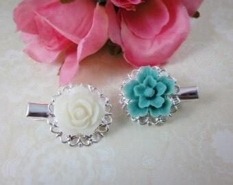 Flower Hair clips. Set of 2. Seafoam sakura and white roses silver plated filigree alligator hair clips.
