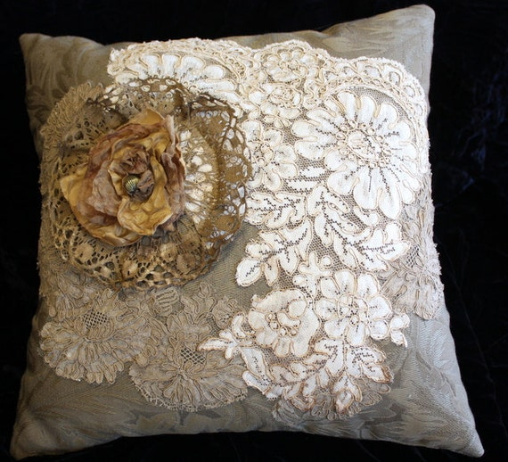 Victorian Style Pillow Shabby Chic Vintage Laces OOAK by memor1es