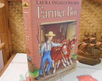 Vintage FARMER BOY Book Laura Ingalls Wilder Girls & Boys Farm Life, Classic Kid Lit, 1981 HCDJ, Garth Williams Illus, Little House Series