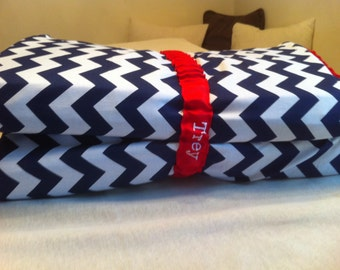 Navy Blue Chevron KinderMat Cover