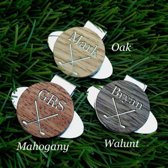 Personalized Engraved WOOD Golf Ball Marker, Golf Gifts for Men,Gift for Golfer,Dad Gift,Men's Gift,Birthday Gift for Dad,Magnetic Hat Clip