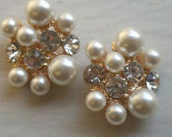 Ivory Pearl and Rhinestone Oval Shaped  Gold  Metal Buttons . Bridal Embellishment