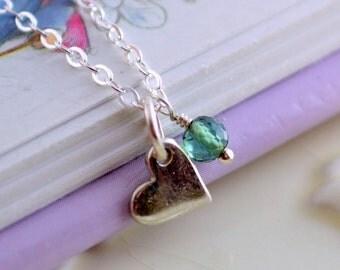 Girls Birthstone Necklace, Genuine Gemstone Jewelry, Child Children Flower Girl, Heart Charm, Sterling Silver, Valentine's Day