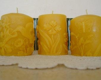 Natural Handmade 100% Beeswax Candle - spring pillar gift set