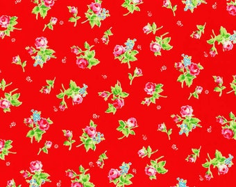 Flower Sugar - Tossed Roses in Red From Lecien Fabrics