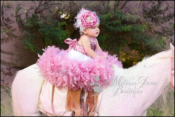 Dusty Rose Classic Fluffy Feather Rosette Dress