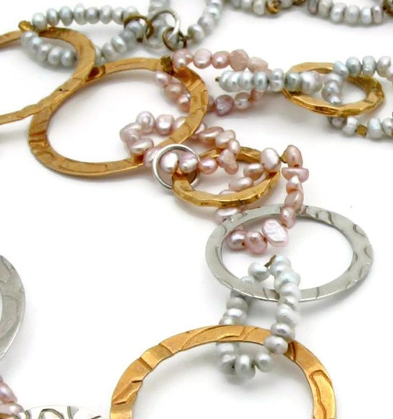 Women's Gift, Pearl Birthstone Necklace, Hoop Pearl Necklace, Silver Gold Hoop Necklace
