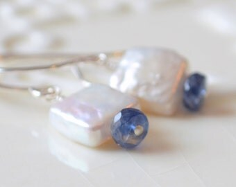 Freshwater Pearl Drop Earrings, Kyanite Gemstone, Monaco Royal Blue, Gold or Sterling Silver, Simple Jewelry, Free Shipping