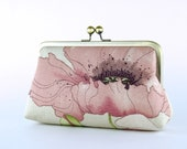 Bridesmaid Clutch, Romantic Poppy Clutch (choose your clutch and color) With Silk Lining, Wedding clutch