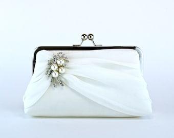 Bridal clutch, Silk Chiffon Clutch with Brooch, Wedding clutch, Wedding bag,  Purse for wedding