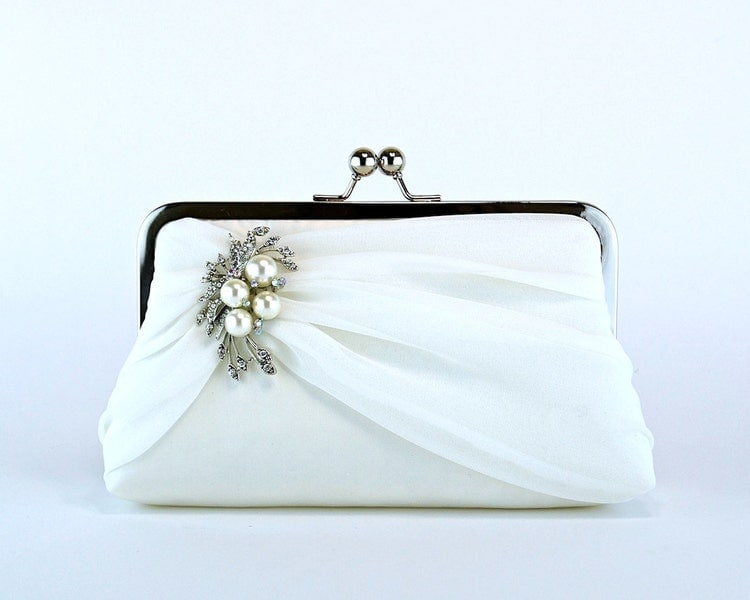 Bridal Clutch Silk Chiffon Clutch With Brooch By EllenVintage