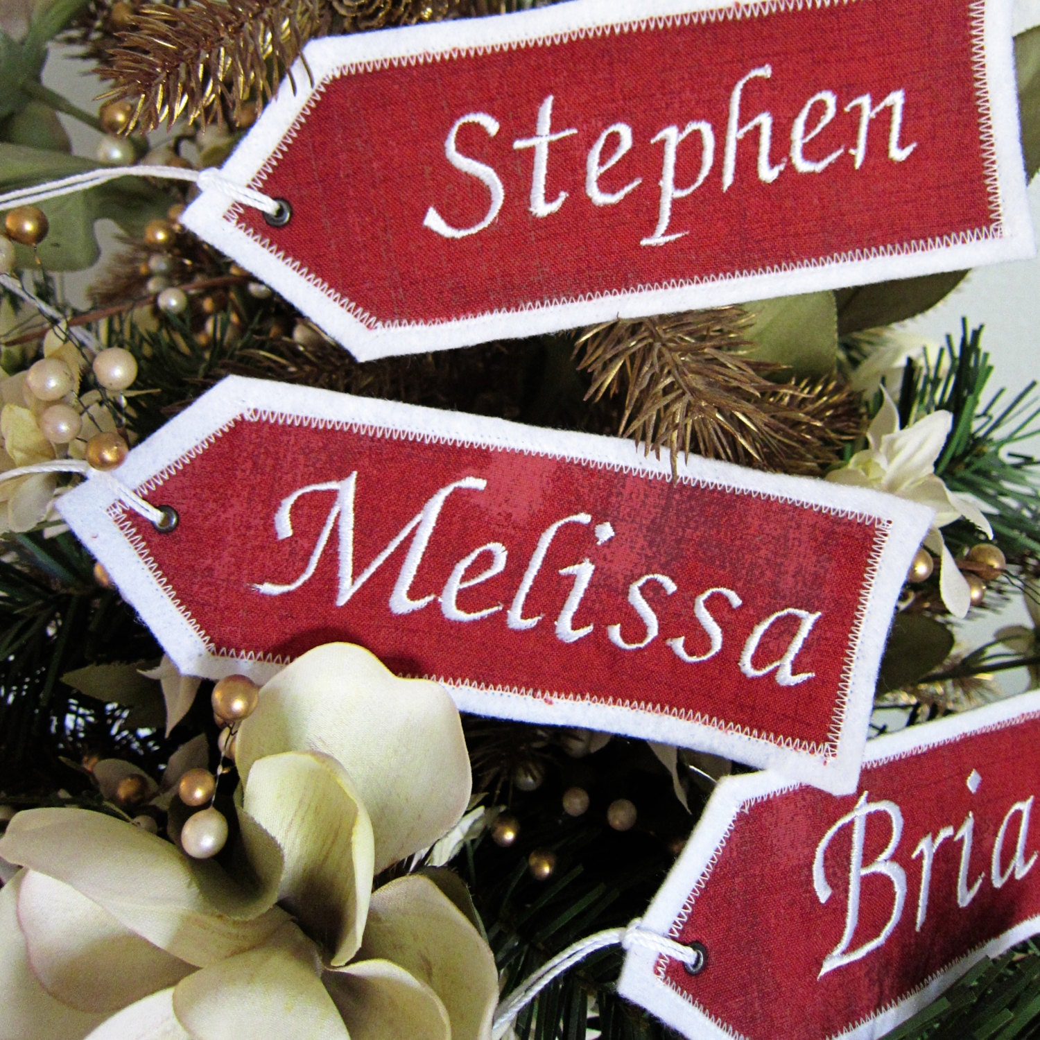 Embroidered christmas ornaments - Personalized Embroidered Christmas Stocking Name Tags