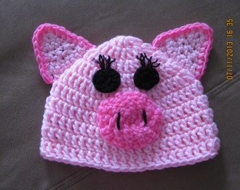 Piggy Hat crochet newborn size photo prop / costume