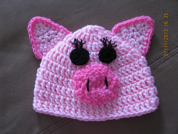 Piggy Hat crochet newborn size photo prop / costume